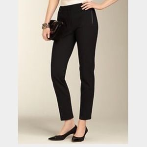 Talbots black leather detail cropped pants 12